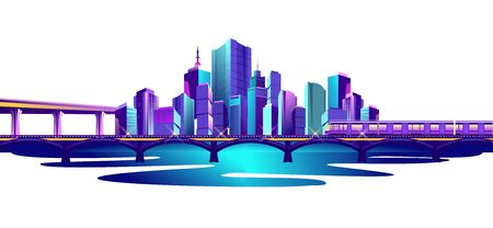 Futuristic city on the bay overpass, railway bridge and train. Isolated on white background. Vector illustration Ilustrace
