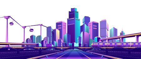 The futuristic resort town is illuminated with neon color and, traffic, roads, bridges, estokadas and a suspended cable car, isolated on a white background Illustration