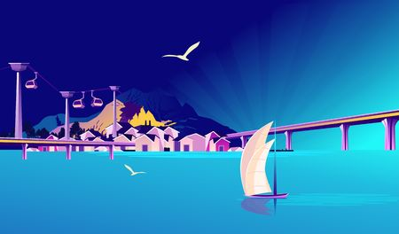 A small fishing village, a tourist town on a rocky shore, with bridges and a cable car, in blue colors. Vector horizontal illustration.