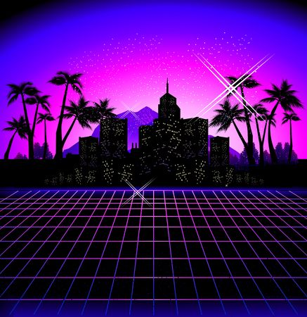 Exotic Hawaiian landscape black silhouettes of the city with luminous windows, retro style, vector illustration laser grid