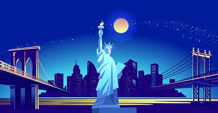 Vector horizontal illustration of the Statue of Liberty on the background of the night American city, illuminated by neon lights, across the canal to the area held a bridge Ilustrace