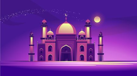 vector horizontal illustration of arab mosque on abstract night sky background.