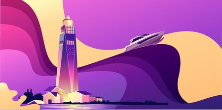 Horizontal vector illustration, abstract banner, concept, Lighthouse in bad weather, huge waves, in retro style, template for a design, marine storm theme