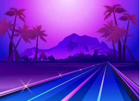 Exotic paradise landscape in violet colors with palm trees and mountains, road leading deep into the vector illustration Archivio Fotografico - 124797239