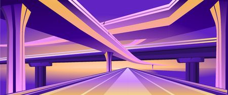 Vector horizontal image of an empty hearse city overpass viaduct bridge in orange purple colors. Çizim