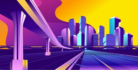 Vector conceptual background, traffic, panoramic view of the road stretching into the distance, bridge, futuristic abstract landscape Vectores