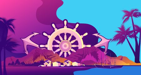 vector horizontal illustration, sea voyage, island fishing village, against the background of a wooden steering wheel and anchors, in yellow-violet colors