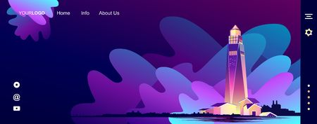 vector background, abstract banner for Internet start page, nautical theme, nightly glowing lighthouse with huge waves in bad weather, nighttime dark background, Vektoros illusztráció