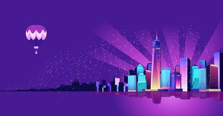Vector illustration of a panorama of a large night city illuminated by neon lights. Modern buildings and skyscrapers on the waterfront, urban landscape Иллюстрация