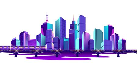 Futuristic city on the bay overpass, railway bridge and train. Isolated on white background. Vector illustration Illusztráció