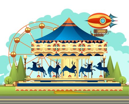 Vector illustration, Carousel with deer at an entertainment fair and circus performances of carnival shows against the sky 矢量图片