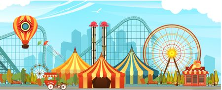 Amusement Park, carousel swing, circus tents on city landscape background, Fan fire show, carnival vector horizontal illustration