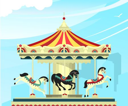 Vector illustration, Carousel with deer at an entertainment fair and circus performances of carnival shows against the sky Illustration