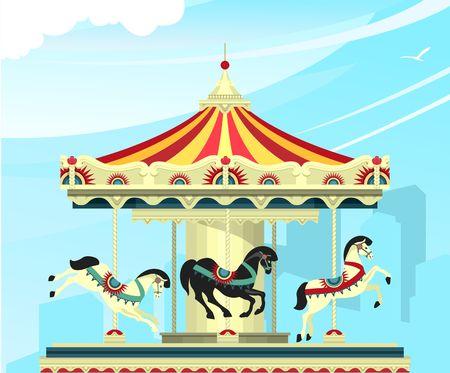 Vektorillustration, Karussell mit Rehen auf einer Unterhaltungsmesse und Zirkusaufführungen von Karnevalsshows gegen den Himmel