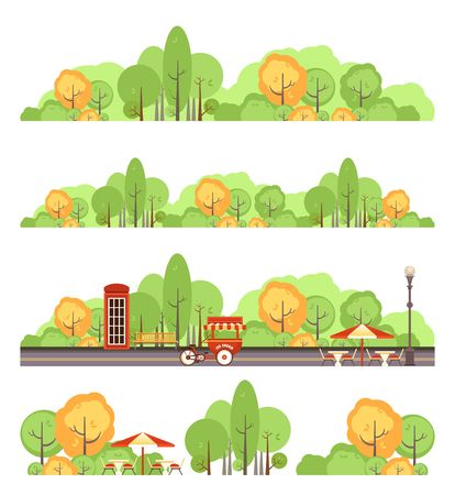 Set of vector park design elements, recreation areas, isolated on white background cozy resting places with trees benches, urban public park of recreation and entertainment,