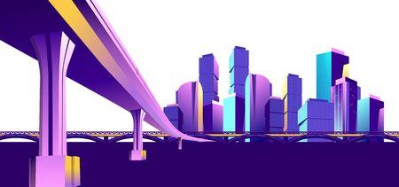 Vector horizontal illustration banner, city, panoramic urban landscape, in violet colors, isolated on white background. Ilustração