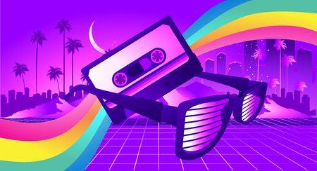 Fondo retro de ciencia ficción de los años 80 al estilo de los carteles de los años 80. con el telón de fondo de un paisaje tropical y la silueta de una ciudad futurista de neón Ilustración de vector