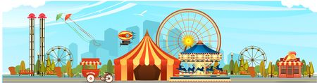 Amusement Park, carousel swing, circus tents on city landscape background, Fan fire show, carnival vector horizontal illustration