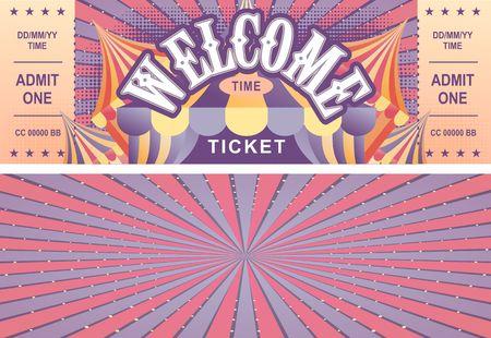 Boleto de circo vintage para un espectáculo de magia, carnaval o parque de diversiones, plantilla vectorial dos lados aislados, aislado sobre fondo blanco.