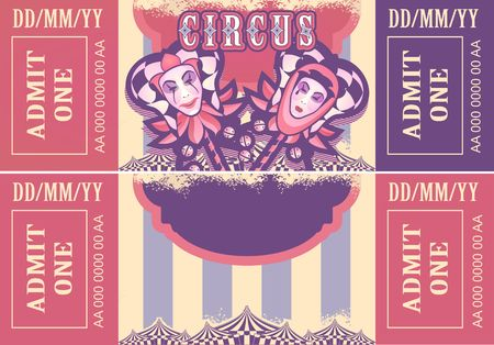 vintage circus ticket for a magic show, carnival or amusement park, vector template two sides isolated, isolated on white background Ilustração