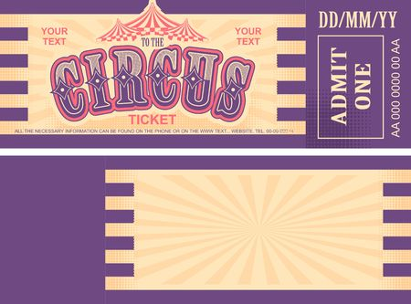 vintage circus ticket for a magic show, carnival or amusement park, vector template two sides isolated, isolated on white background 일러스트