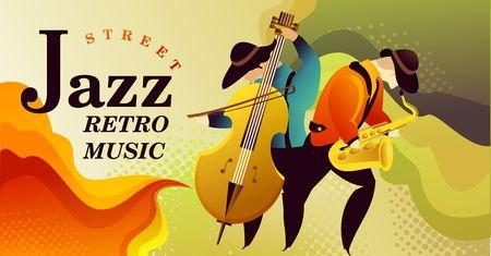 Classic music festival jazz rock concert, jazz gangs. horizontal vector banner illustration. Banner Illustration