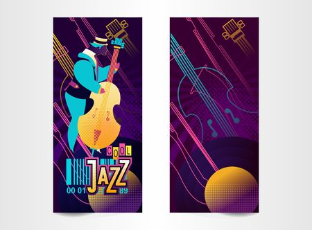 vertical ticket poster for music festival, jazz show, vector illustration, templates for two sides of concert invitation cards of neon illustrations isolated Illustration