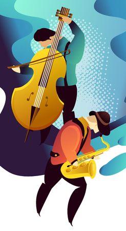Classic music festival jazz rock concert, jazz gangs. Vertical vector banner illustration. Illustration