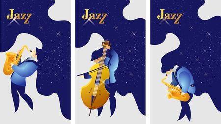 Vertical banner, set pattern jazz concert concept mystical sounds of music space for imagination, starry sky