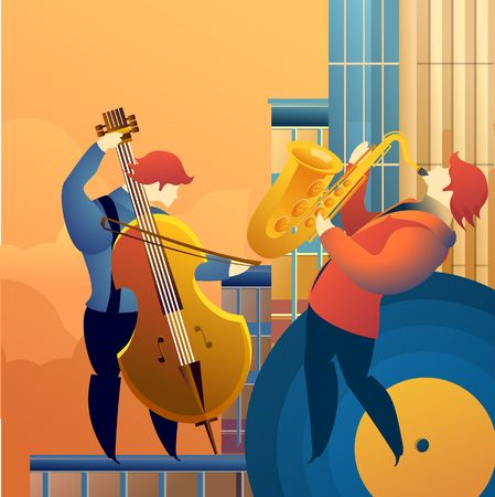 Classical music festal concert, musicians playing on the rooftops, street jazz blues, vector vertical illustration