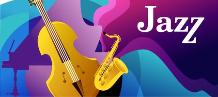 Classical music festival, abstract banner, jazz music with a musical instrument, vector horizontal illustration