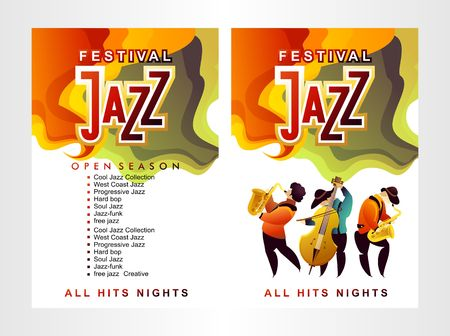 Jazz, music poster template for vertical flyer banner two sides, mystical sounds, starry sky, copy space White background