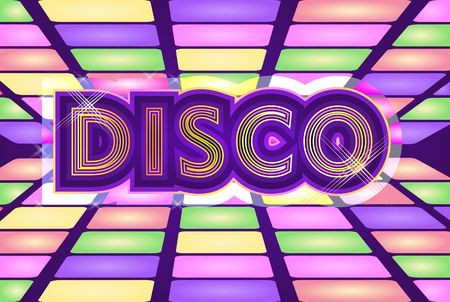 vector illustration, background in retro style, waves of dots on a light background, disco text Illustration