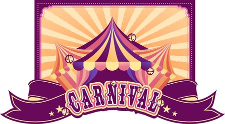 Vector template for poster, festive presentation, cabaret show, traveling tent. Invitation to the holiday acrobats, circus artist, performer, clowns. Vintage retro advertising Illustration