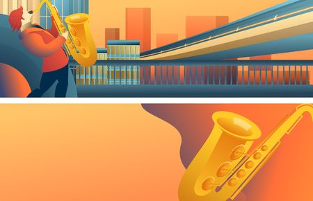 Set of vector horizontal banners, musical theme, jazz on city streets, two sides isolated