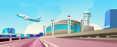 Vector illustration, horizontal banner, airport building on a sunny day, a plane takes off in the sky, concept of air transport and airlines 免版税图像 - 123036913
