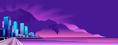 vector horizontal illustration of night city landscape on the seashore lit by lights and setting sun,