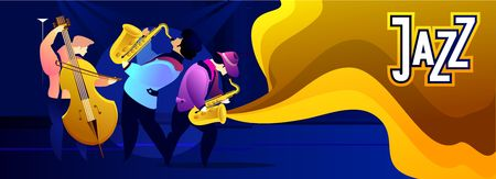 Classical music festival concert, musician playing jazz blues, vector illustration. Poster