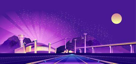 Night neon airport Ilustração