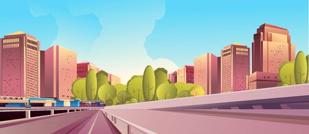 vector horizontal illustration, day city landscape, outskirts of a city, city park, street