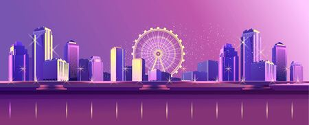 Vector horizontal banner illustrations, night city, neon light, cityscape, in red-violet tones, street panorama, buildings on the coastline are reflected in the water
