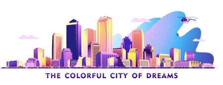Futuristic colorful city, panoramic view of skyscrapers and high-rise buildings on a white background.