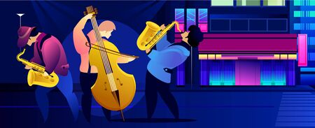 Classical music festival concert, musician playing jazz blues  illustration. Stock Illustratie