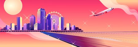 Conceptual banner, futuristic abstract city, high-rise buildings, streets, cityscape, template for web design and home page interface, vector illustration