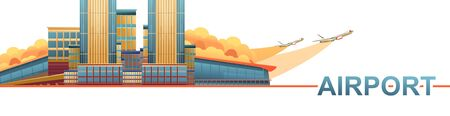 Horizontal banner, vector abstract illustration of a modern airport building, with runway, in orange-blue tones, Stock Illustratie