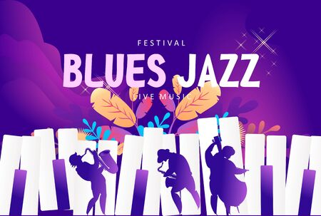 jazz music festival banner, presentation party invitation template. Advertising line for website illustration