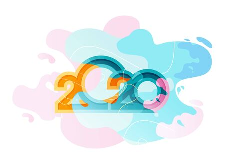 Horizontal calendar, 2020, in a fashionable style with colorful spots, waves, abstract background Иллюстрация