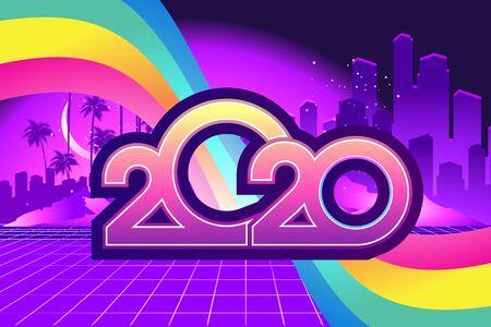 2020 retro wave calendar