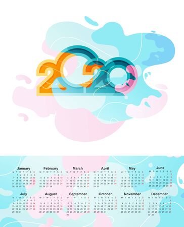 Horizontal desk calendar, 2020, in English, in trendy style with colorful spots, abstract background, two sides 일러스트
