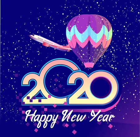 2020 calendar numbers, new year greeting card, air travel, vector illustration Illustration